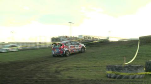 Rally Car Drifts Corner Footage
