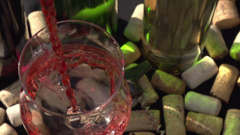 Rose Wine Being Poured Into A Glass stock footage