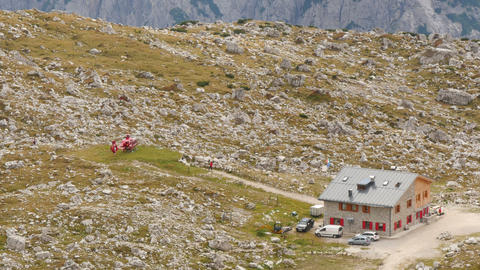 4k UHD helicopter prepare start in dolomite 11541 Footage