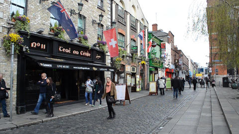 People at Temple Bar, Dublin, Ireland Footage