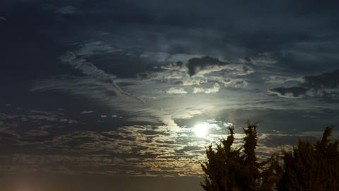 4K Full Moon of September (Harvest Moon) and clouds Time Lapse Footage