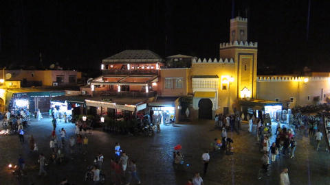 Jemaa el-Fnaa mosque, call to prayer, Marrakech, M Footage