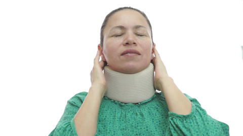 Woman With Neck Brace In Pain stock footage
