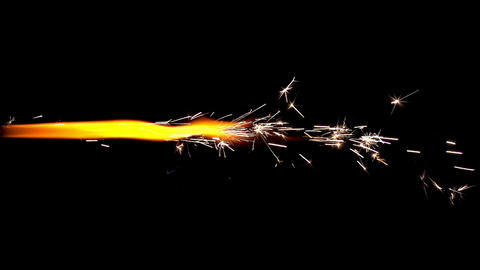 Torch of Fireworks on Black Background Footage