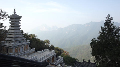 China Songshan Mountains 04 Sanhuangzhai monastery Footage