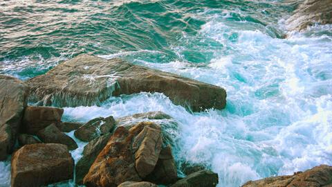 Waves and rocks. Tropical sea coast. Thailand Footage