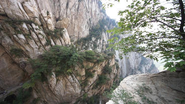 China Songshan Mountains 13 Gorge Pan Up stock footage