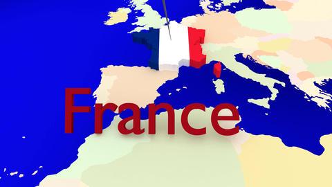 Weltkarte zoomt auf Frankreich Animation
