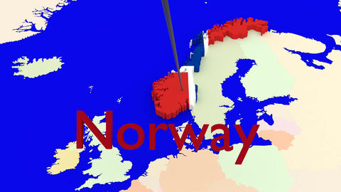 Worldmap Zooms to Norway Animation