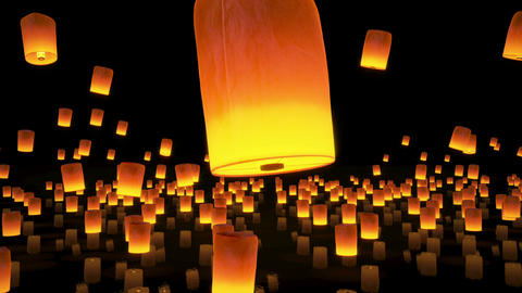 beautiful Lanterns flying in night sky Animation
