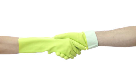 Woman and Man Shaking Rubber Gloved Hands Live Action