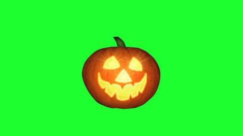 Halloween Pumpkin Winking Animation, green screen Animation