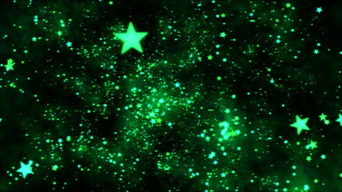 Space Travel through Star Shapes - Loop Green Animation