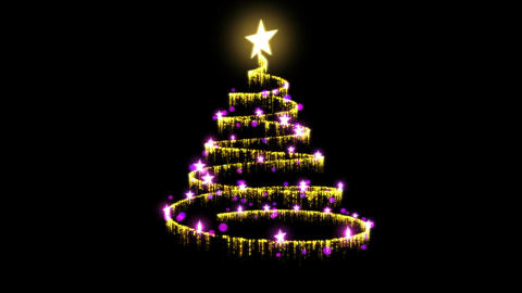 Rotating Christmas Tree Animation - Loop Gold Purp Animation