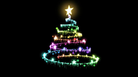 Rotating Christmas Tree Animation - Loop Rainbow stock footage