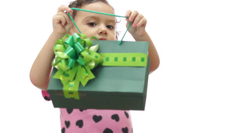Baby Girl Peeking Gift Bag stock footage