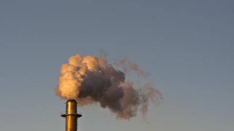 Factory smoke stack pollution. Time lapse. Apple ProRes Footage