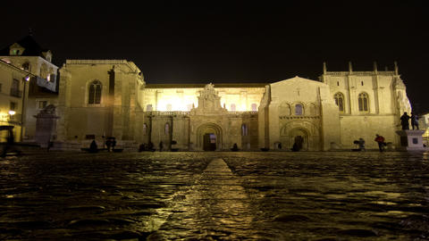 4K Architectural landmark time lapse at night in Spain. ProRes. Loop Footage
