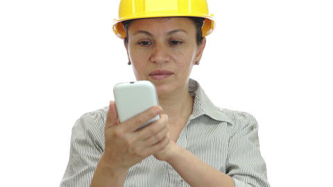 Woman Hardhat Phone For You Smile Footage