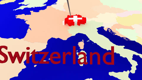 Worldmap Zooms to Switzerland Animation
