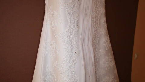 white elegant wedding dress Footage