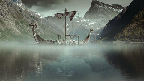 Viking Ships on nordic sea, Epic FullHD, VisualFX Filmmaterial