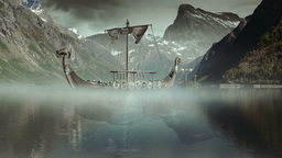 Viking Ships on nordic sea, Epic FullHD, VisualFX Stock Filmmaterial