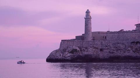 Cuba , Havana , El Morro castle , lighthouse , boa Footage