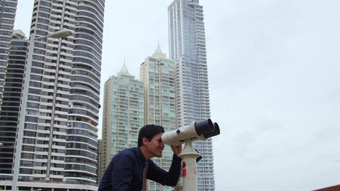 7of 10 Asian business man with binoculars , manager, happy man Footage