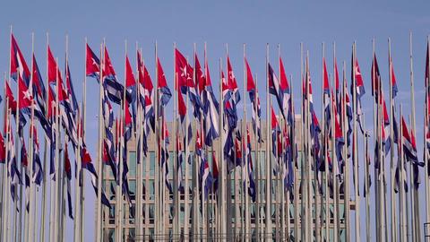 Cuba , La Habana , Havana , Cuban flags near Ameri Footage