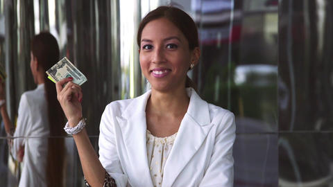 3of 6 Business woman portrait, money, cash atm Footage