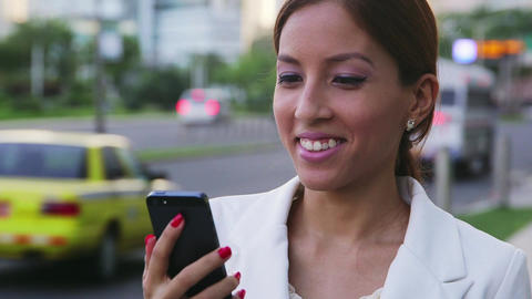 6of 6 Portrait businesswoman writing text message Footage