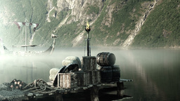 Viking Longboat At A Pier On A Fjord In Norway lizenzfreie Videos
