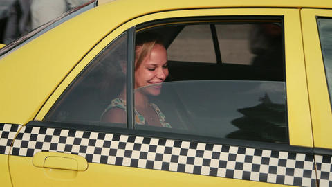 3of 3 Business Woman , Tourist Traveling By Taxi stock footage