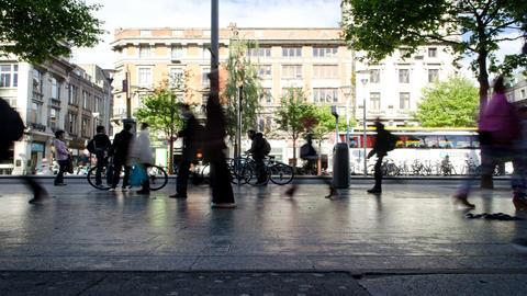 Crowd Of People Walking On City Street Sidewalk Timelapse Footage