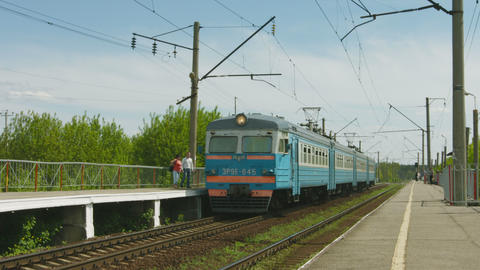 ALESHINO. RUSSIA - CIRCA MAY 2014: Arrival commute Footage