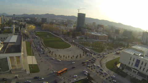 Panoramic view on a city center and main square in Live Action