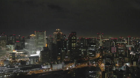evening aerial from Osaka sky building 2 Live影片