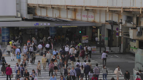 birds eye angle JR Osaka station - pedestrians Footage