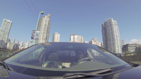 Driving Tour Facing Car Downtown To City Center stock footage
