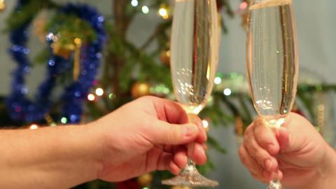 christmas toasting - people hands with glasses ful Footage