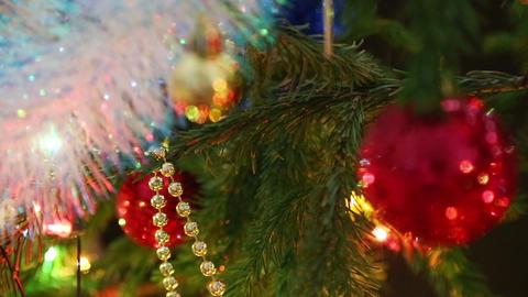 christmas decorations on fir closeup Footage