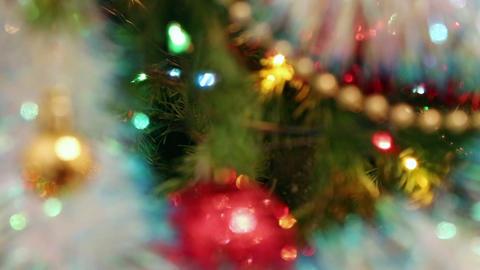 christmas decorations on fir closeup - rack focus Footage