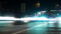 Traffic In Night City. Time Lapse 4K stock footage