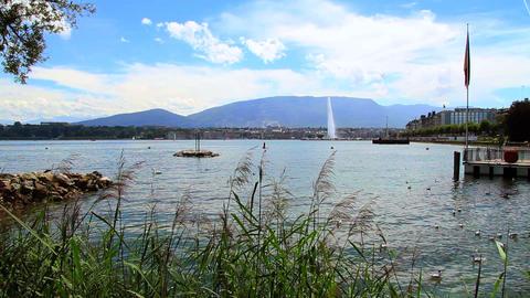 Jet d'eau in Geneva Footage
