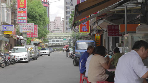 Day - Taiwan People Eat Lunch Outside At Food Stan stock footage