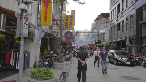 main road leading into siping market Taipei - peop Footage