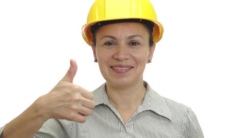 Woman In Hardhat Thumb Up Isolated stock footage