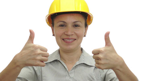 Woman Hardhat Gives Two Thumbs Up Footage