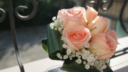 Bridal Bouquet Of Cream Roses stock footage